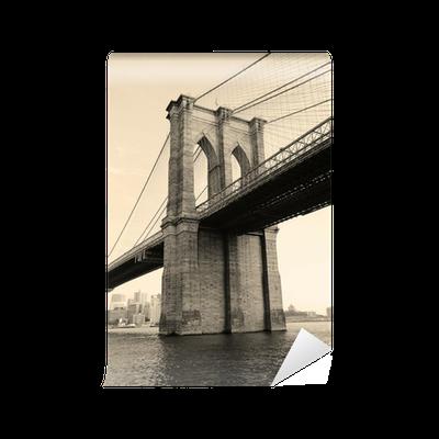 Brooklyn bridge black and white wall mural pixers we for Brooklyn bridge black and white wall mural