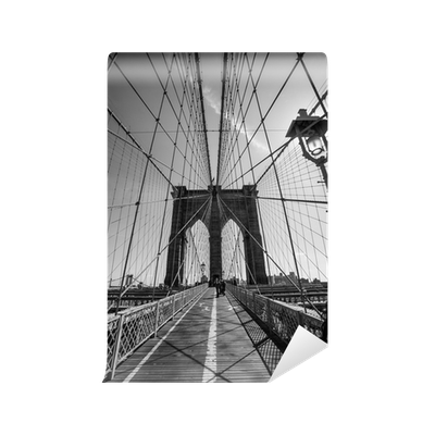 Brooklyn bridge black and white wall mural pixers we for Brooklyn bridge black and white wall mural