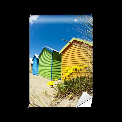 Cabanes de plage color es brighton beach melbourne for Plage stickers uk