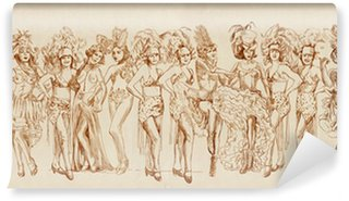 Wall Mural - Vinyl Cancan dancers - Retro image with lots of show girls