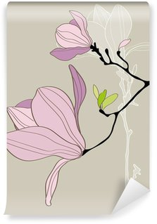 Card with stylized magnolia Wall Mural - Vinyl