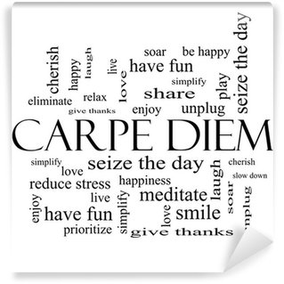 Wall Mural - Vinyl Carpe Diem Word Cloud Concept in black and white