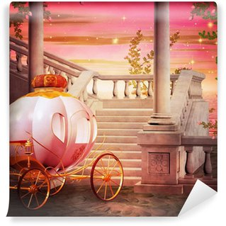 Vinyl Wall Mural Carriage Castle Fantasy Backdrop