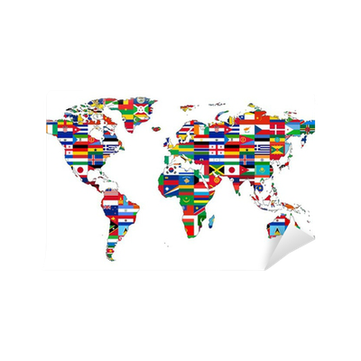 carte du monde avec drapeaux vinyl wall mural pixers 174 we live to change