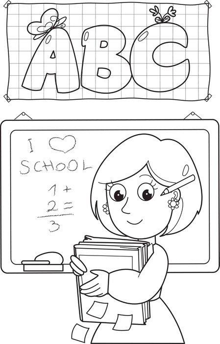 Cartoon coloring school teacher with books and black board Vinyl ...