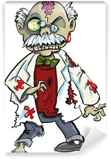 Wall Mural - Vinyl Cartoon zombie scientist with brains showing. Isolated on white