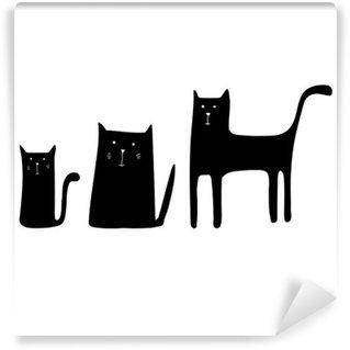 cat animal contour drawing creative kitten pet Wall Mural - Vinyl