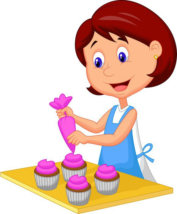 wall mural vinyl catoon woman with apron decorating cupcakes women