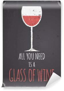 Chalkboard Red Wine Design Wall Mural - Vinyl