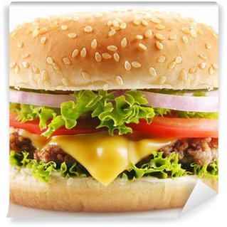 Wall Mural - Vinyl Cheeseburger on a white background