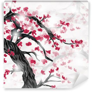 Wall Mural - Vinyl cherry blossom in spring ispired by japanese painting