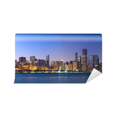 Chicago skyline panorama across lake michigan at sunset for Chicago skyline wall mural