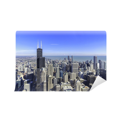Chicago skyline panorama aerial view wall mural pixers for Chicago skyline mural wallpaper