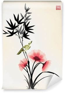 Wall Mural - Vinyl Chinese ink style flower bird drawing