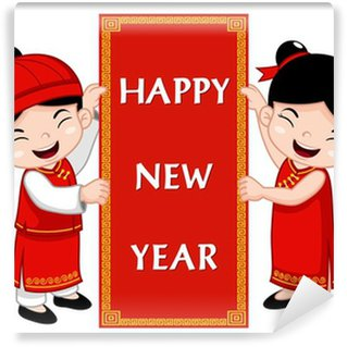 chinese kids with happy new year sign vinyl wall mural - Chinese New Year Sign