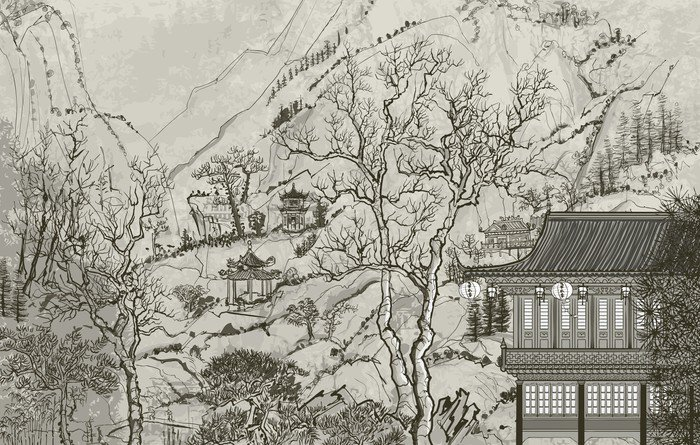 Wall Mural - Vinyl Chinese landscape - Styles