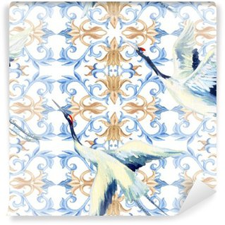 Wall Mural - Vinyl Chinese watercolor seamless pattern