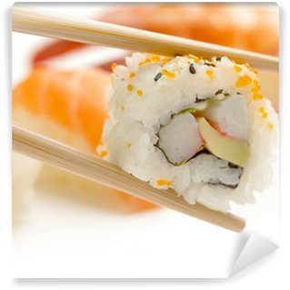 Wall Mural - Vinyl chopsticks with california maki