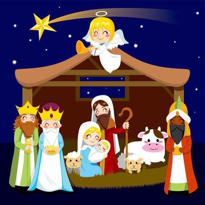 Vinyl Wall Mural Christmas Nativity Scene   Christmas