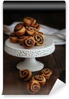 Cinnamon pinwheel rolls on cake stand Wall Mural - Vinyl