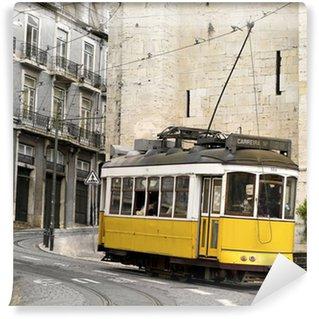 Wall Mural - Vinyl classic yellow tram of Lisbon, Portugal