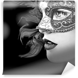 Close up portrait of woman in mask