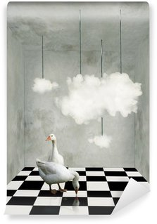 Clouds and ducks in a surreal room Wall Mural - Vinyl