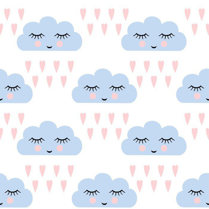 Clouds pattern. Seamless pattern with smiling sleeping clouds and hearts for kids holidays. Cute baby shower vector background. Child drawing style rainy clouds in love vector illustration. Wall Mural - Vinyl - Graphic Resources
