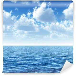 Vinyl Wall Mural cloudy blue sky above a blue surface of the sea