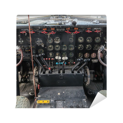 Cockpit of a vintage plane wall mural pixers we live for Cockpit wall mural