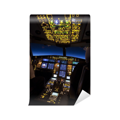 Cockpit of aircraft in a night flight wall mural pixers for Cockpit wall mural