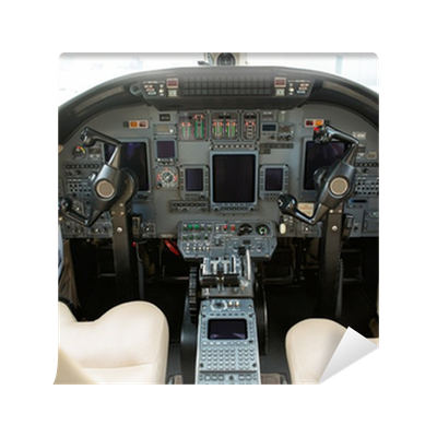 Cockpit of private business jet wall mural pixers we for Cockpit wall mural