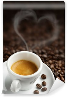 coffee cup with heart- shaped steam