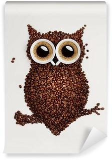 Wall Mural - Vinyl Coffee owl.