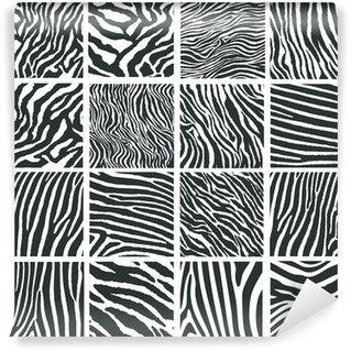 Collection of 16 vector skin zebra texture Wall Mural - Vinyl