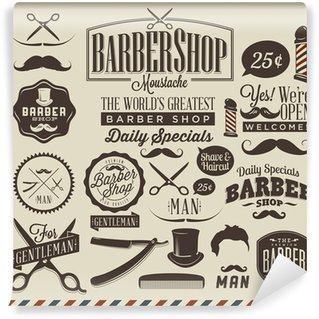 Collection of vintage grunge barber shop labels Wall Mural - Vinyl