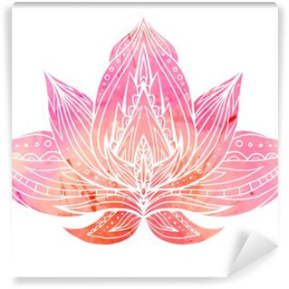 Wall Mural - Vinyl Color Lotus with boho pattern and watercolor background.