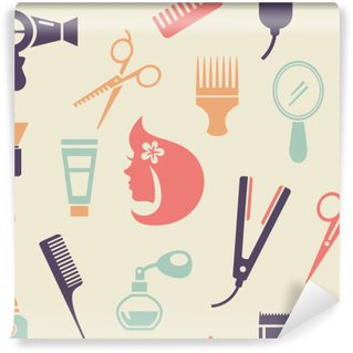 Wall Mural - Vinyl Colored Barbershop Pattern