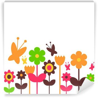Wall Mural - Vinyl Colorful flowers design greeting card template