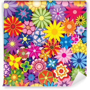Colorful Seamless Repeating Flower Background Wall Mural - Vinyl