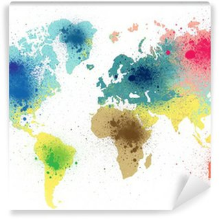 Vinyl Wall Mural colorful world map with paint splashes