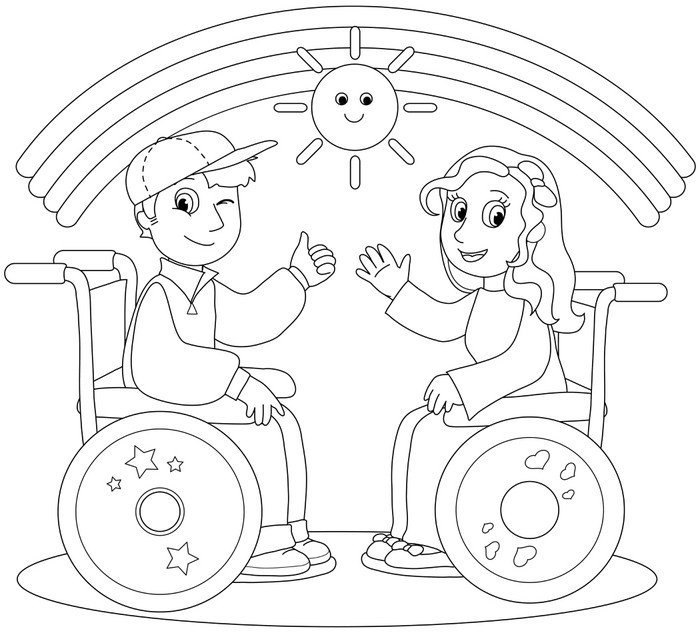 Coloring illustration of smiling boy and girl on wheelchair. Vinyl ...
