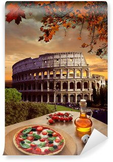 Colosseum with Italian pizza in Rome, Italy Wall Mural - Vinyl