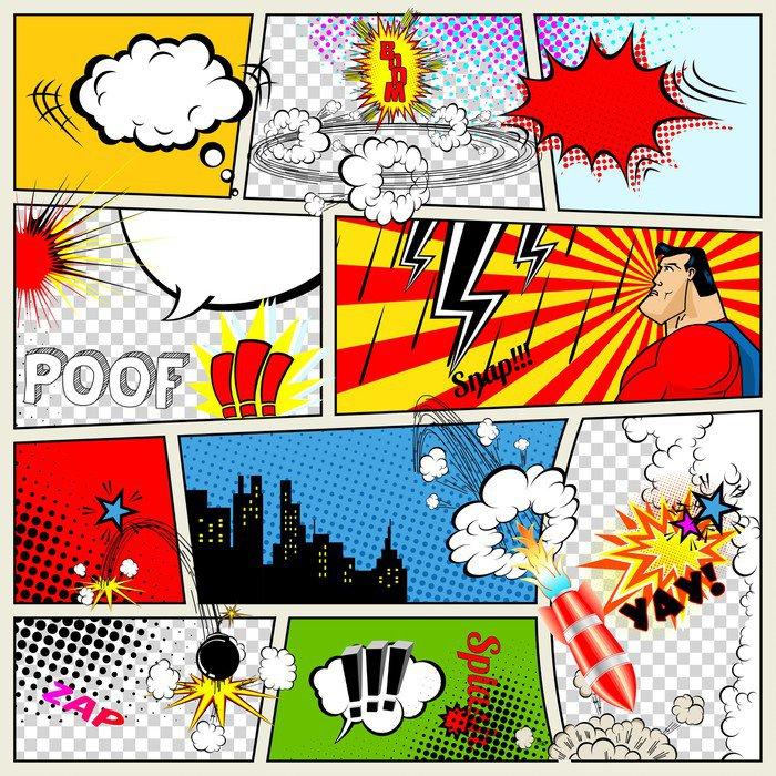 Comic Book Wall Murals comics template. vector retro comic book speech bubbles wall mural