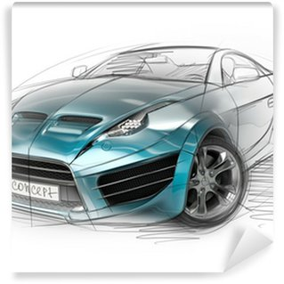 Wall Mural - Vinyl Concept car sketch. Original car design.
