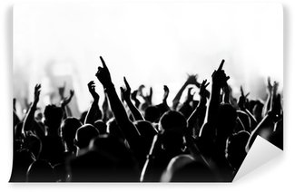concert crowd in front of bright blue stage lights Wall Mural - Vinyl