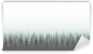 Coniferous forest silhouette template. Woods illustration Wall Mural - Vinyl