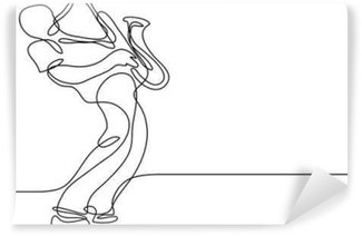 Vinyl Wall Mural continuous line drawing of saxophone player