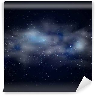 Cosmic space black sky background with blue stars nebula at night vector illustration Wall Mural - Vinyl
