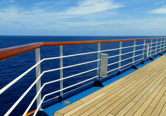 cruise ship deck and rail overlooking the sea wall mural